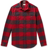 J.Crew Buffalo Check Cotton Flannel Shirt Red