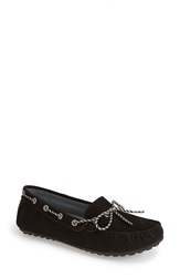 David Tate 'Connie' Nubuck Driving Loafer Women Black