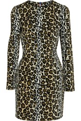 House Of Holland Leopard Print Velvet Mini Dress