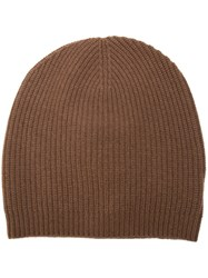 P.A.R.O.S.H. Ribbed Beanie Hat Brown