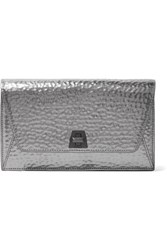 Akris Anouk Envelope Metallic Textured Leather Clutch One Size