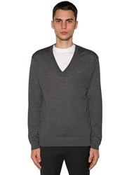 Dsquared Wool Knit V Neck Sweater Grey