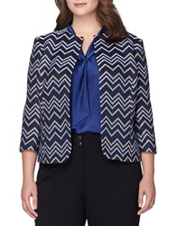 Tahari By Arthur S. Levine Plus Chevron Blazer Blue Black