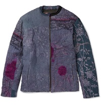 By Walid Patchwork Bomber Jacket Blue