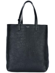 Saint Laurent Crocodile Embossed Tote Black