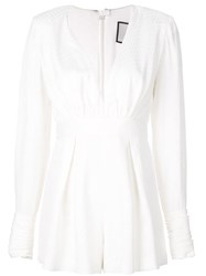 Alexis Murphy V Neck Playsuit White