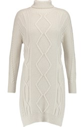 Derek Lam 10 Crosby By Cable Knit Wool Turtleneck Tunic Ivory