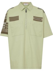 Burberry Short Sleeve Military Cotton Shirt Green