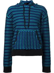 Proenza Schouler Striped Hooded Sweater Blue