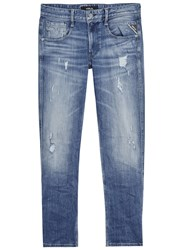 Replay Anbass Blue Distressed Slim Leg Jeans Light Blue