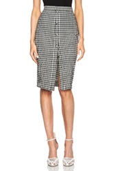 Altuzarra Balthazar Seersucker Gingham Skirt In White Black Checkered And Plaid