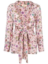 Romeo Gigli Vintage Floral Print Belted Blouse Pink And Purple