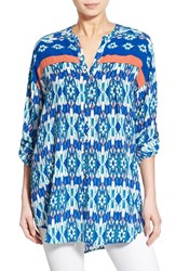 Women's Plenty By Tracy Reese Print Roll Tab Sleeve Tunic