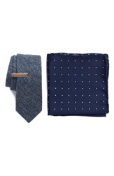The Tie Bar West Ridge Solid 3 Piece Skinny Style Box Navy