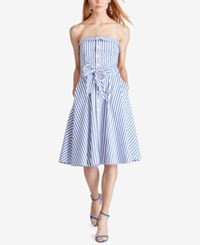 Polo Ralph Lauren Bengal Stripe Fit And Flare Dress White Regatta