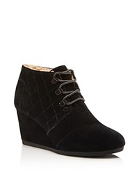 Toms Faux Shearling Quilted Desert Wedge Booties Black
