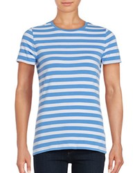 Lord And Taylor Striped Crewneck Tee Blue