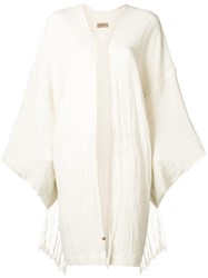 Caravana Long Sleeve Open Front Vest White