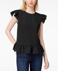 Maison Jules Ruffled Flutter Sleeve Top Created For Macy's Deep Black