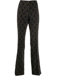 Cambio Chain Print Flared Trousers Blue
