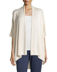 Joan Vass 3 4 Sleeve Open Topper Cardigan Morning Dove