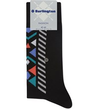 Burlington Geometric Print Cotton Blend Socks Black