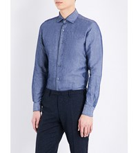 Slowear Linen And Cotton Blend Chambray Shirt Mid Blue