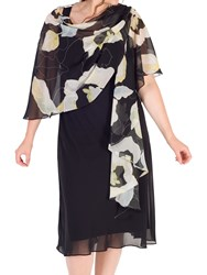 Chesca Abstract Floral Chiffon Shawl Black Apple
