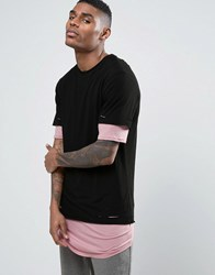 Cayler And Sons Longline Layered T Shirt With Distressing Black