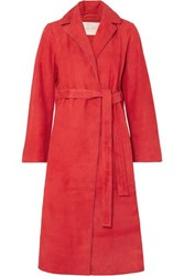 Stine Goya Luisa Belted Suede Coat Red