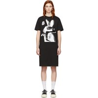 Mcq By Alexander Mcqueen Ssense Exclusive Black And White Glitch Bunny Slouch T Shirt Dress