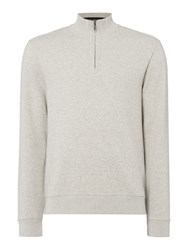 Linea Men's Mauriac Funnel Neck Zip Through Sweat Light Grey