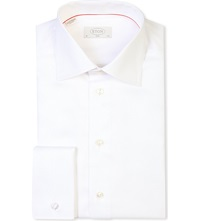 Eton Slim Fit French Cuff Cotton Twill Shirt White