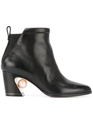 Nicholas Kirkwood Pull On Ankle Boots Calf Leather Kid Leather 37.5 Black