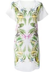 Iris Von Arnim Flower And Birds Print Dress White