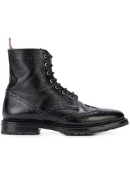 Thom Browne Pebble Grain Wingtip Boot Black