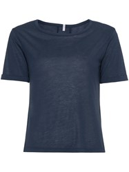 Lot 78 Lot78 Cashmere Side Slit T Shirt Blue