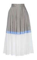 Vika Gazinskaya Pleated A Line Skirt Grey White Blue