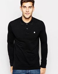 United Colors Of Benetton Long Sleeve Pique Polo In Slim Fit Black100
