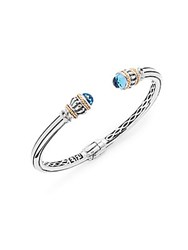 Effy Blue Topaz 18K Yellow Gold And Sterling Silver Hinged Cuff Bracelet