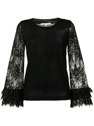 Patrizia Pepe Lace Sleeves Blouse Black