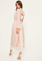 Missguided Pink Extreme Split Back Hammered Satin Duster Coat