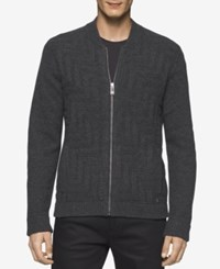 Calvin Klein Men's Maze Pattern Zip Front Sweater Med Grey Heather