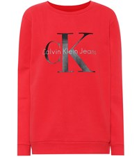 Calvin Klein Jeans Printed Cotton Jersey Sweater Red