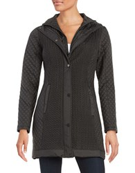 Jones New York Quilted Zip Front Jacket Black