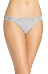 Dkny Women's Lace Trim Thong Mid Grey