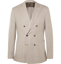 Brunello Cucinelli Stone Double Breasted Linen Wool And Silk Blend Blazer