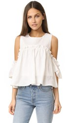 J.O.A. Layered Ruffle Cold Shoulder Top White