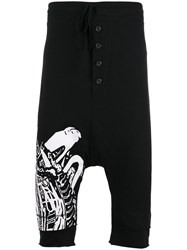 Barbara I Gongini Abstract Print Drop Crotch Shorts Black