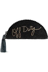 Rebecca Minkoff Woman Taco Tasseled Embroidered Woven Straw Clutch Black